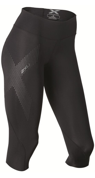 2XU W's Mid-Rise Compression 3/4 Tights Black/Dotted Reflective